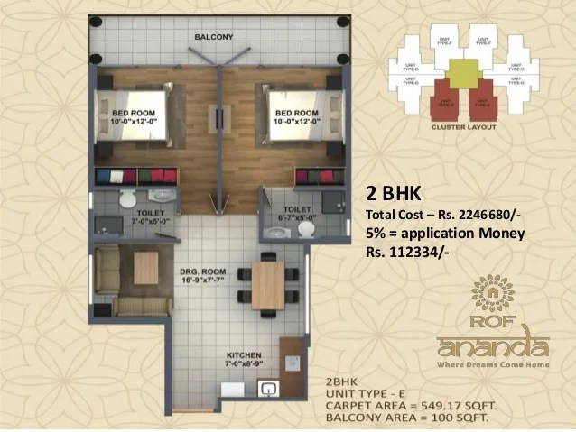 2 BHK Total Cost – Rs. 2246680/- 5% = application Money Rs. 112334/-