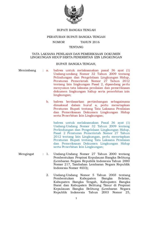 Draft Raperbup Penilaian Dokumen Lingkungan Dan Izin