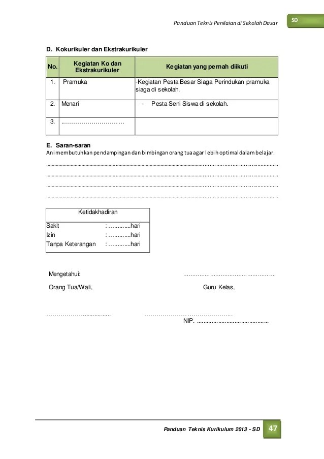 Raport Sd Kurikulum 2013 Final Versi Dirjen