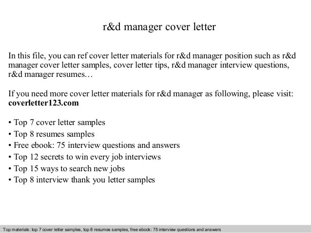 R&d Manager Cover Letter