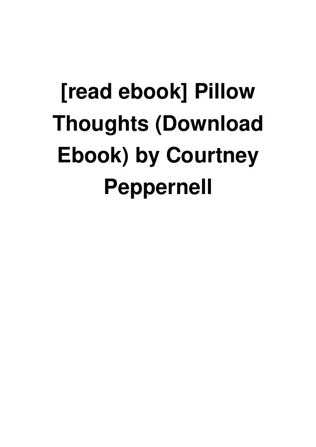 read ebook pillow thoughts download