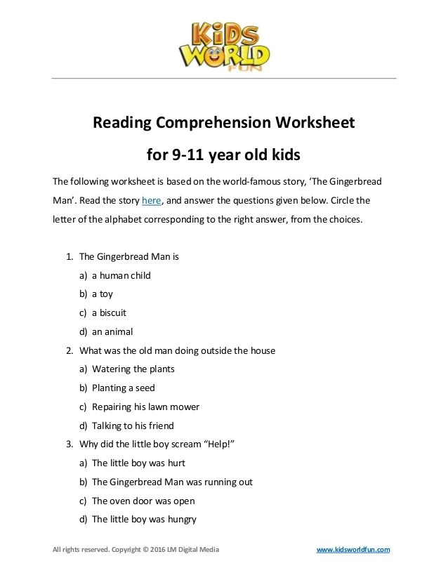 Reading Comprehensionworksheetfor911yearsoldkids