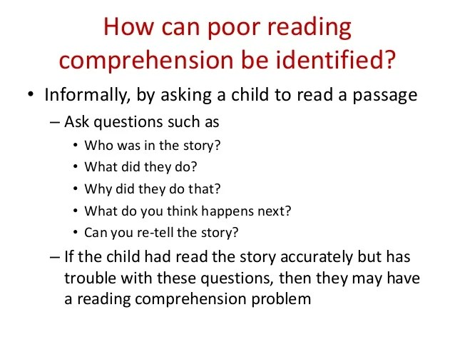 Reading Comprehension Impairment