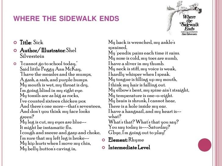 Where Sidewalk Ends Shel Silverstein Poem
