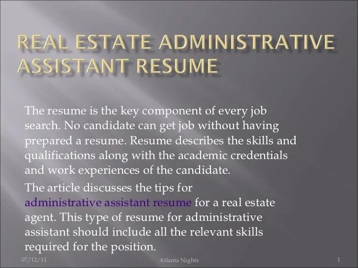 Wonderful Real Estate Administrative Assistant Resume Sample