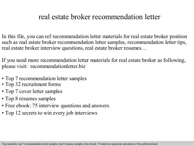 Real Estate Broker Recommendation Letter