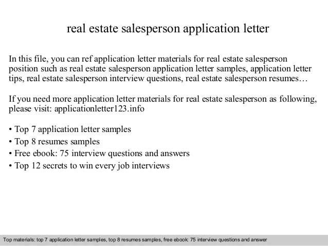 Real Estate Salesperson Application Letter