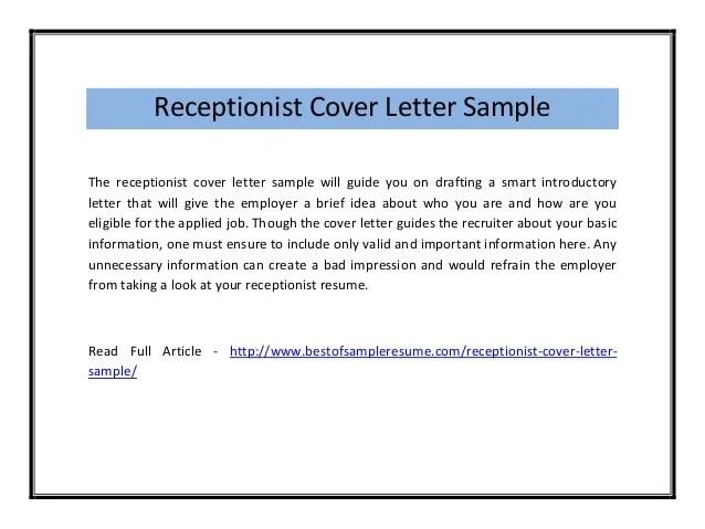 Receptionist cover letter sample pdf