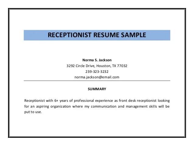 Receptionist Resume Sample Pdf