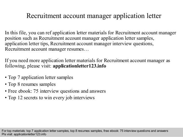 Recruitment Account Manager Application Letter