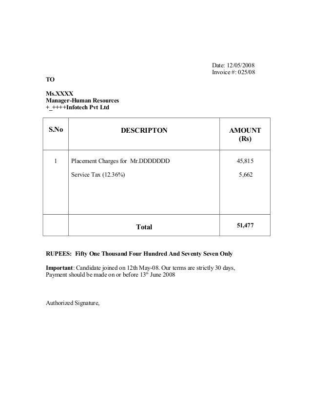 recruitment invoice template