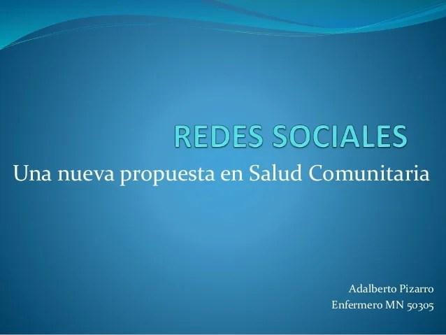 Redes Sociales Una Nueva Propuesta En Salud Comunitaria