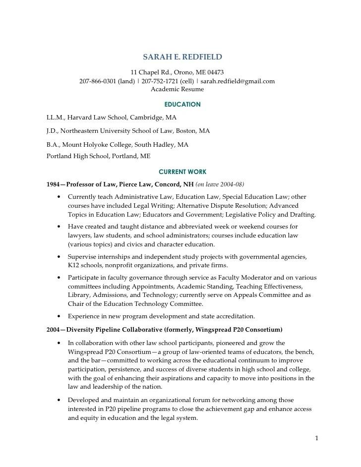 Redfield Academic Resume 09