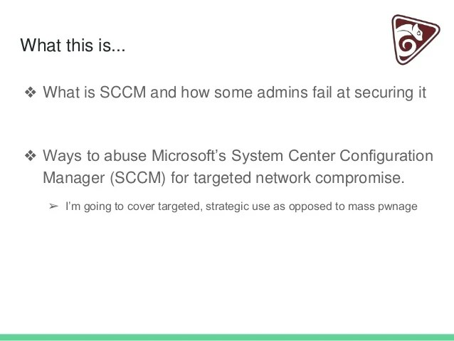 Red team upgrades using sccm for malware deployment