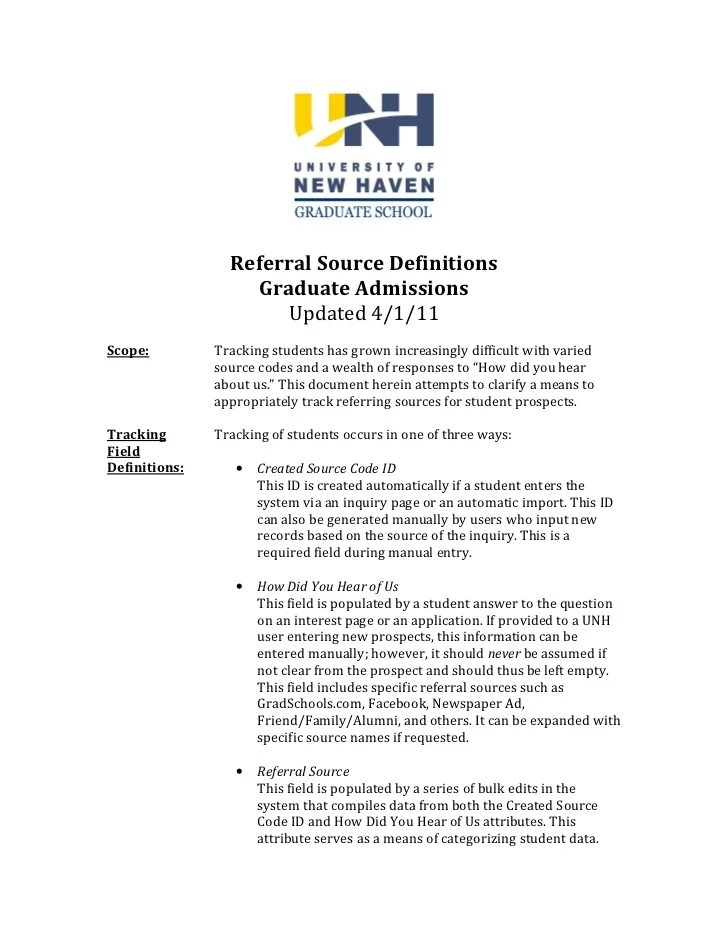 Sample Referral Source Definition Policy
