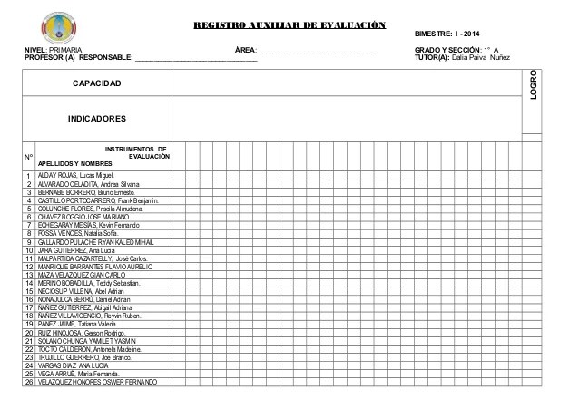 Registro Auxiliar De Evaluacin Con Nombres Primaria