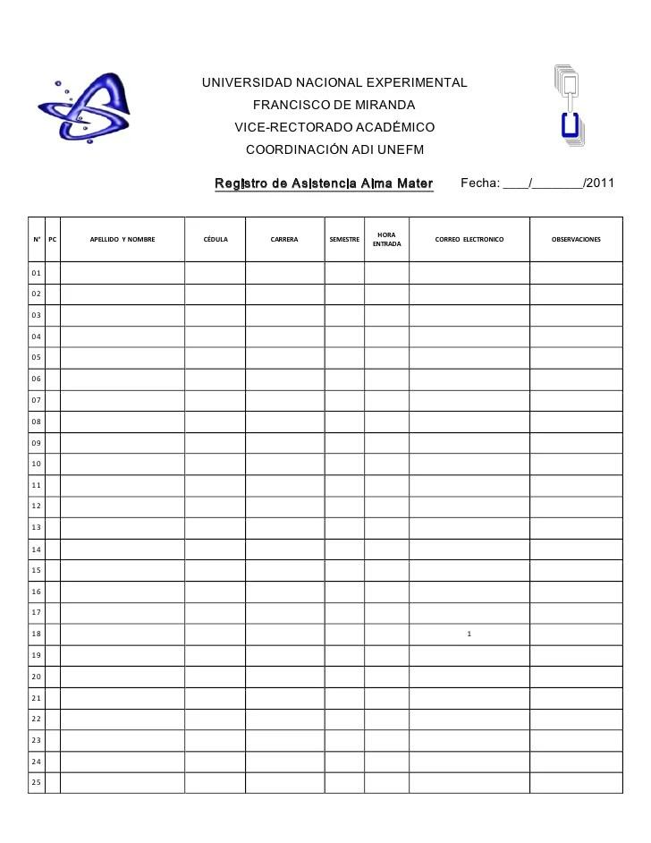 Registro De Asistencia 2011