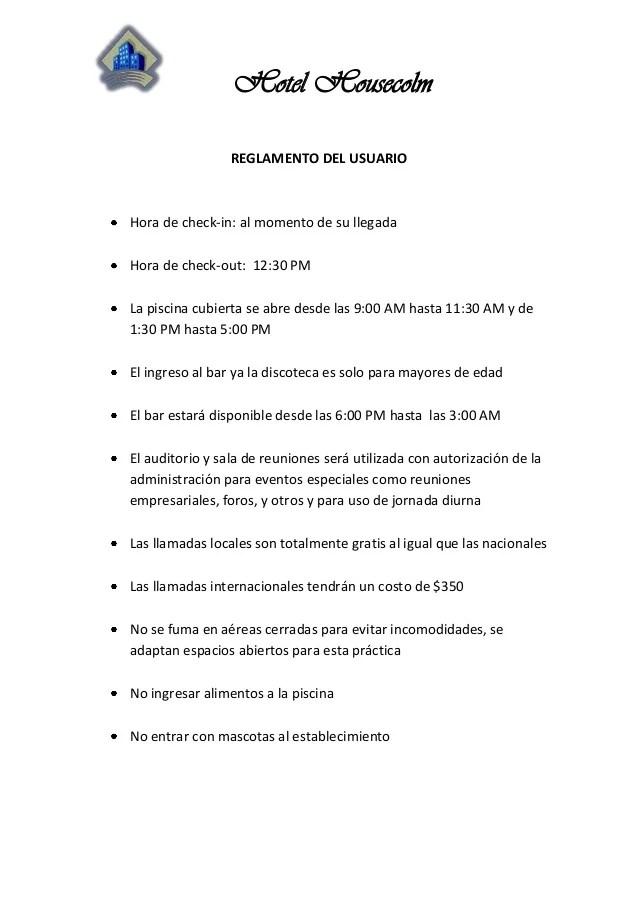 Reglamento del usuario hotel housecolm
