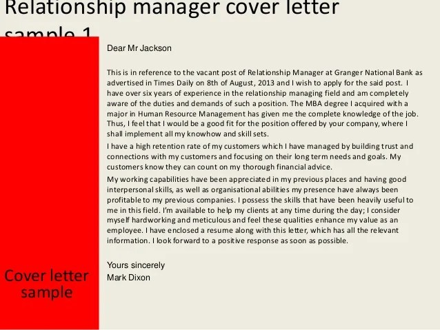 Cover Examples Relationship Letter Banker