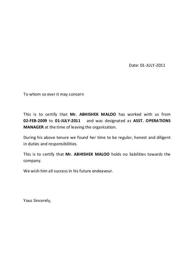 release letter sample