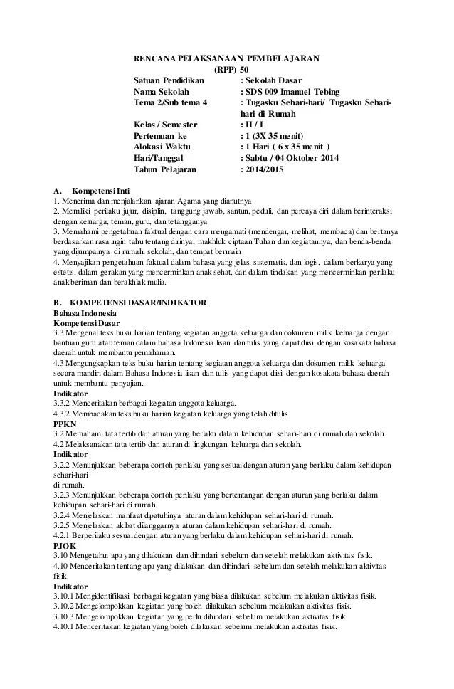 Rpp Kelas 2 Sd Kurikulum 2013 Revisi 2018 : kelas, kurikulum, revisi, Contoh, Kelas, Pendidikan