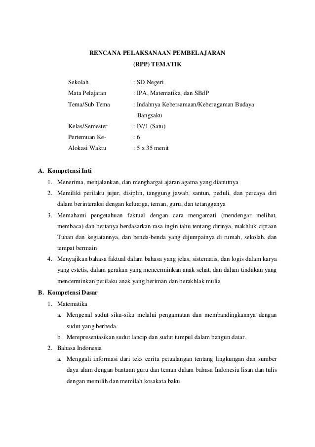 Rpp Kelas 4 Kurikulum 2013 : kelas, kurikulum, Tematik, Kelas, Kurikulum