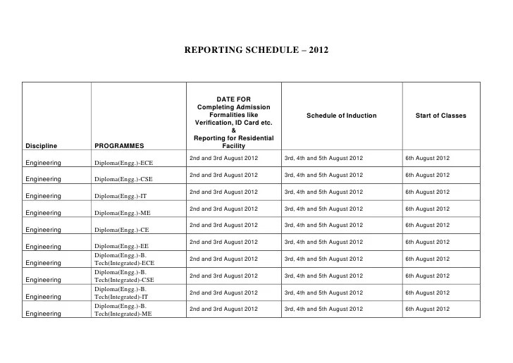 Reporting Schedule Induction 2012 2