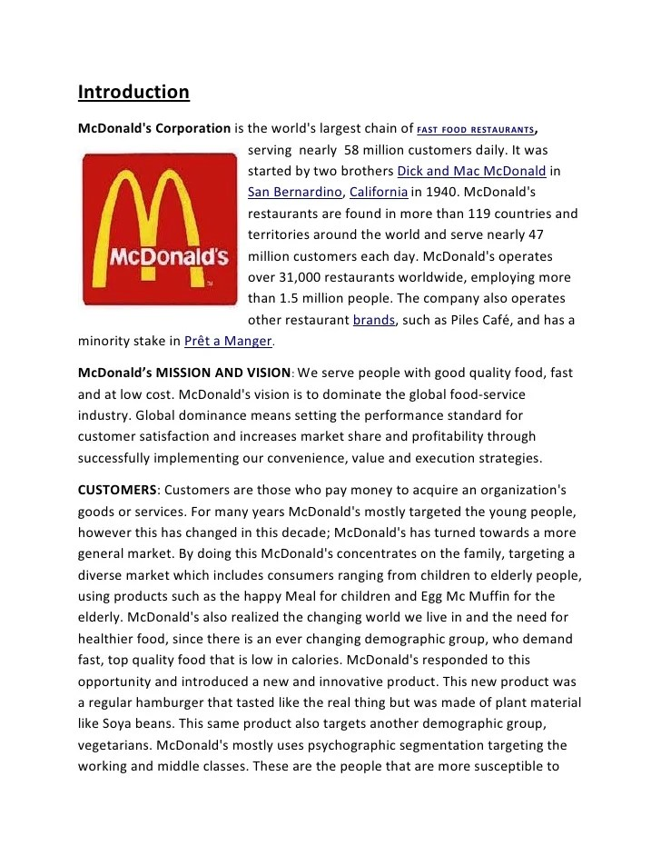 research project on mcdonalds