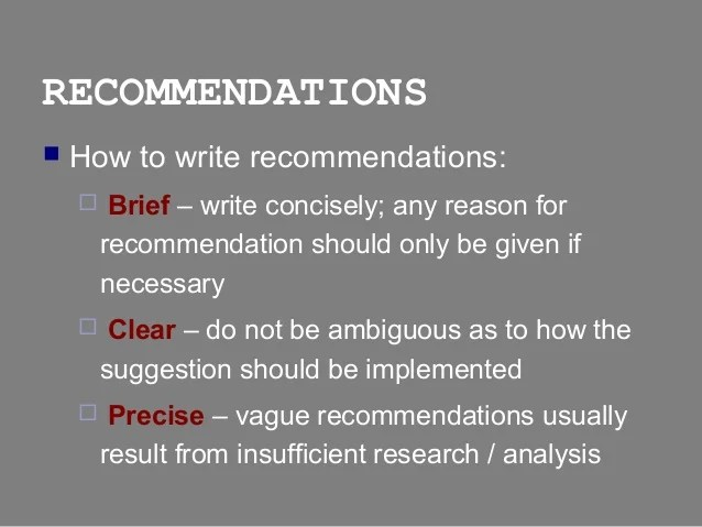 Report Writing Conclusions & Recommendations Sections