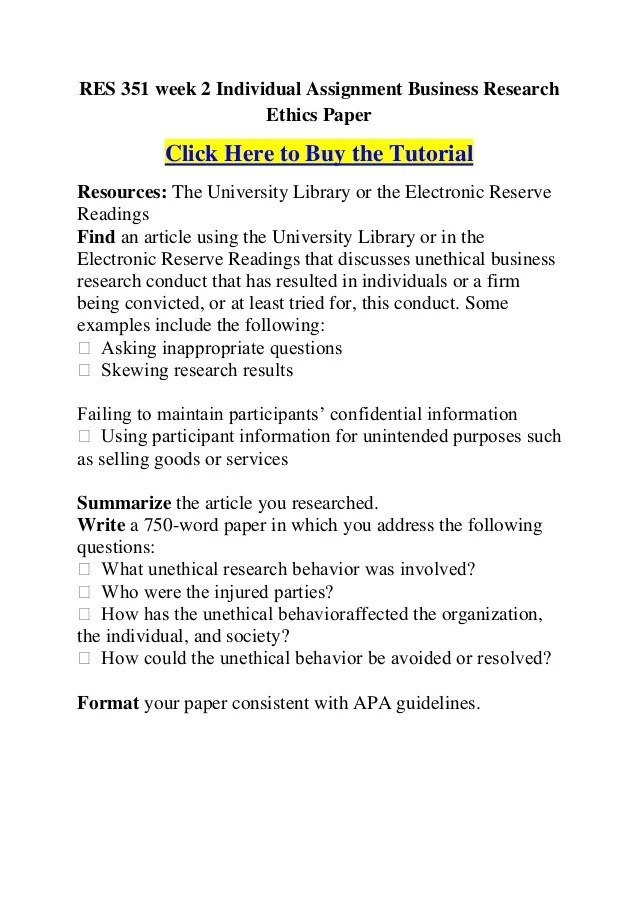 Res 351 Week 2 Individual Assignment Business Research Ethics Paper 1 638 ?cb=1357254906