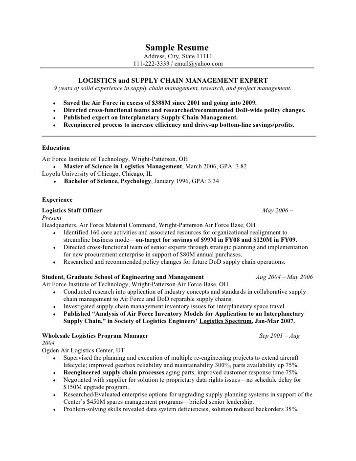 Air Force Resume Example Examples of Resumes