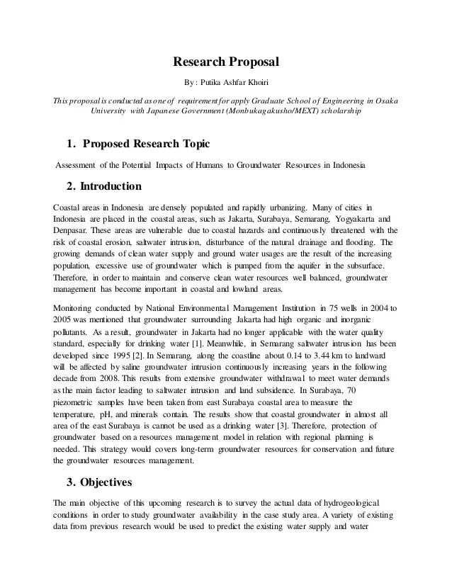 Research Proposal Assessment Of The Potential Impacts Of