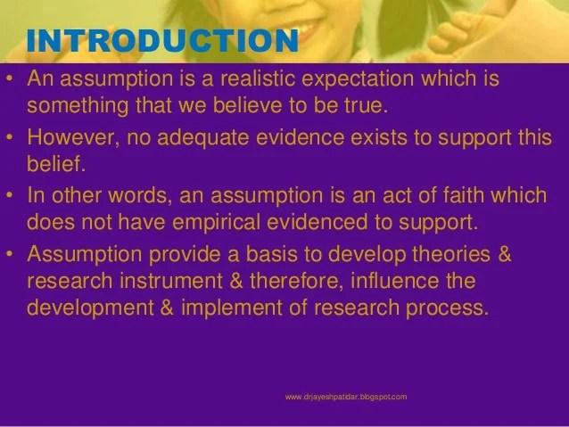 Research Assumption