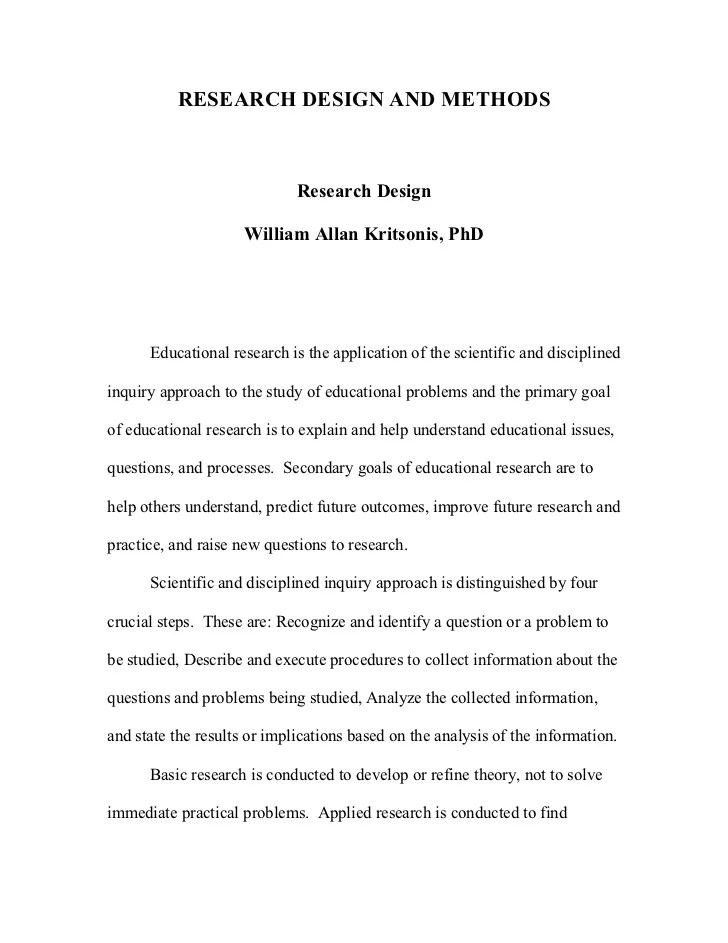 Research Design And Methodology Dr W A Kritsonis