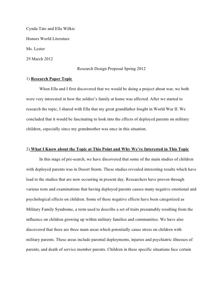 Research Paper Proposal Sample Research Paper Proposal Sample