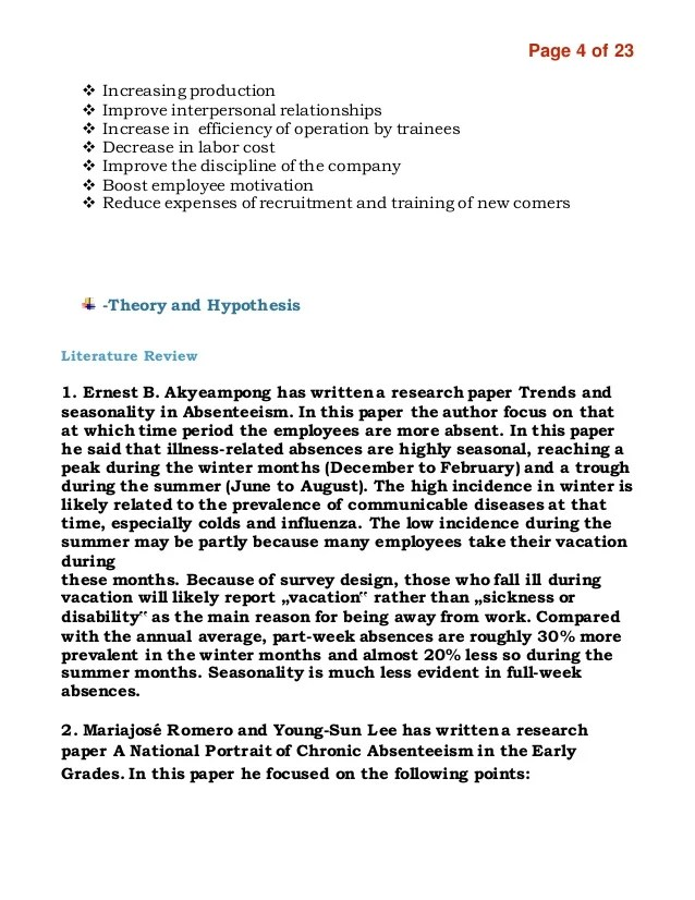 Causes Of Absenteeism Research Report