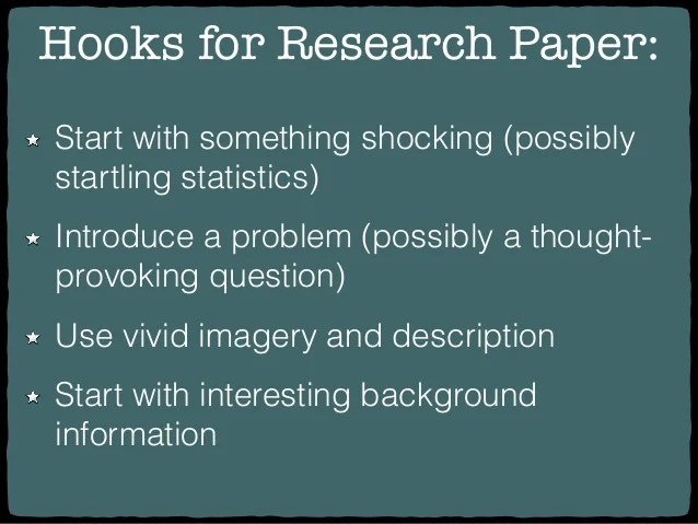 Hooks To Start A Research Paper Coursework Academic Service