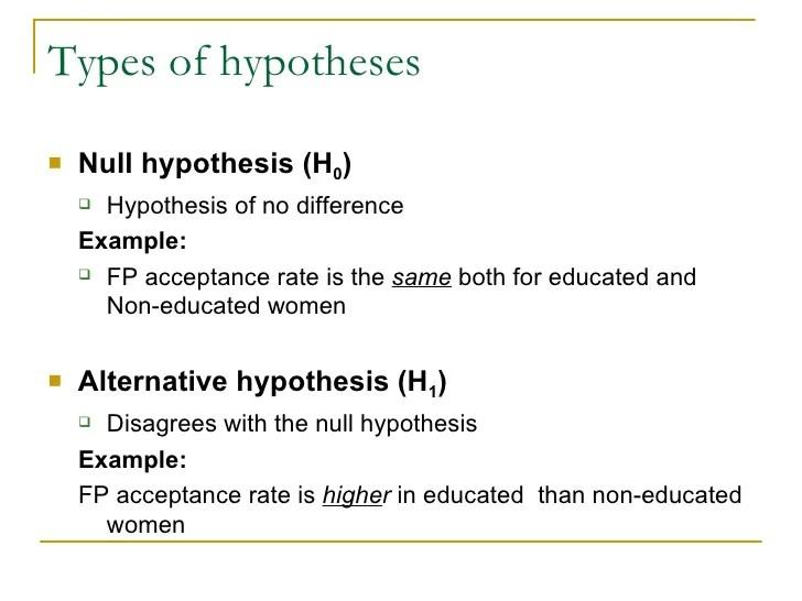 NULL HYPOTHESIS EXAMPLE Alisen Berde