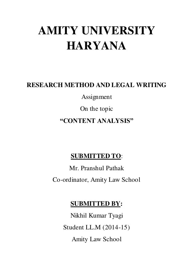 Research Methodolgy And Legal Writing Content Analysis