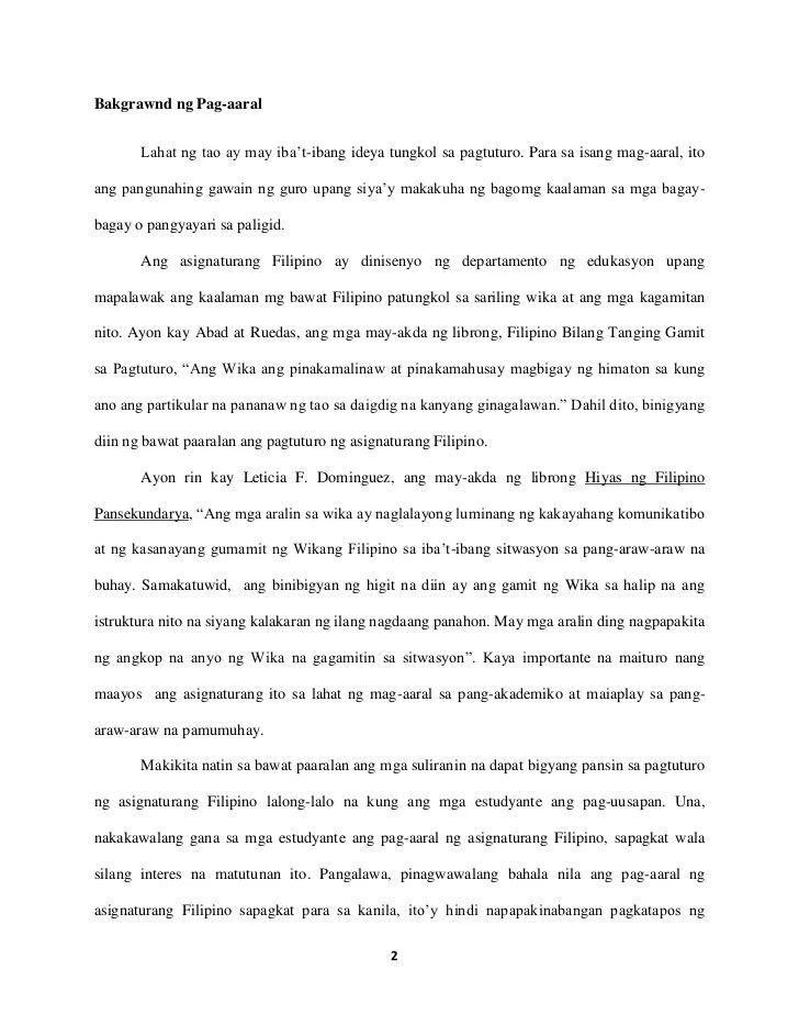 Research Paper In Filipino