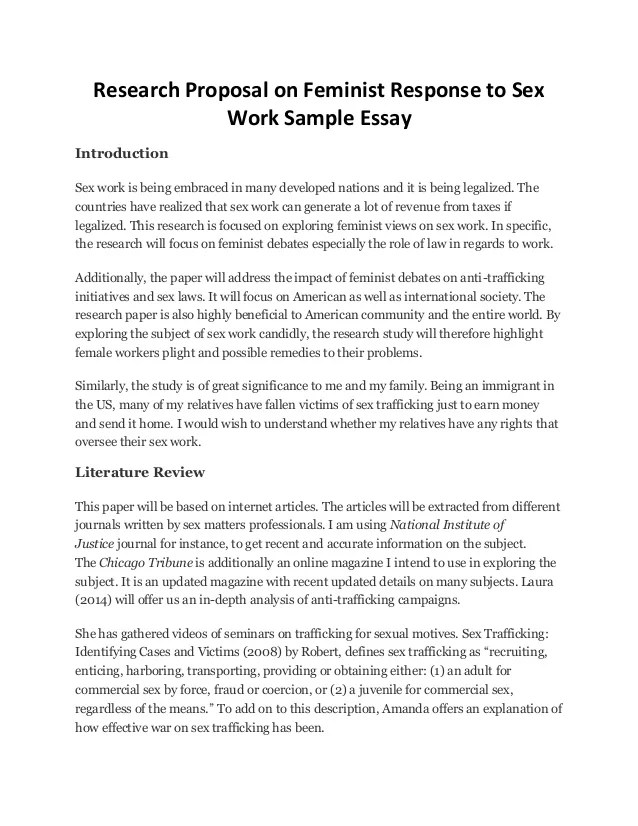 Essay On Feminism Research Proposal On Feminist Response To Sex Work