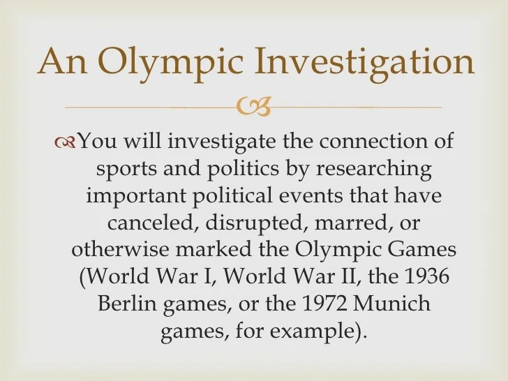 Olympics And Politics Essay