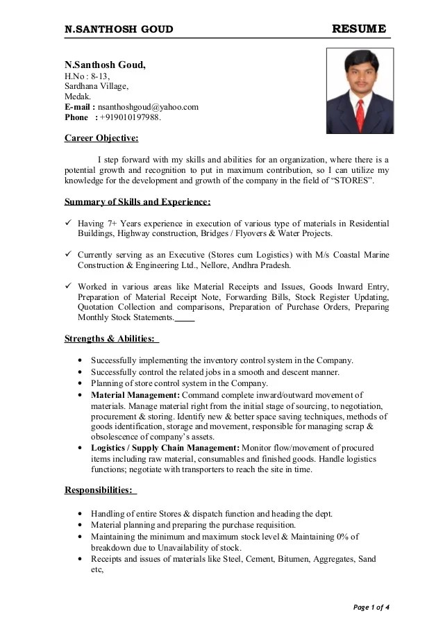 resume for store keeper job