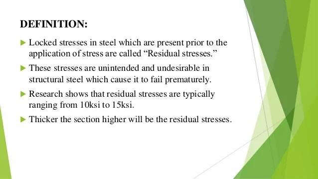 Residual stresses in steel