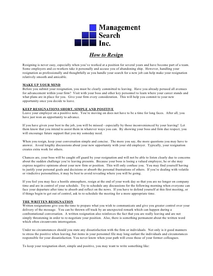 Resignation Guide