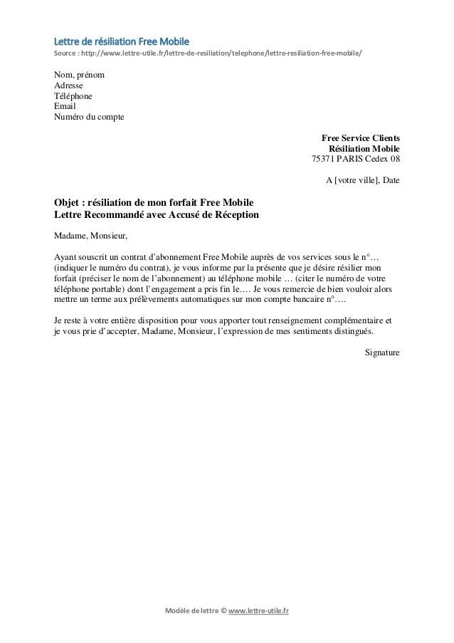 photo lettre de resiliation forfait mobile modele lettre