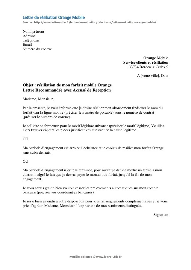 photo modele de lettre de resiliation sfr gratuit lettre de motivation