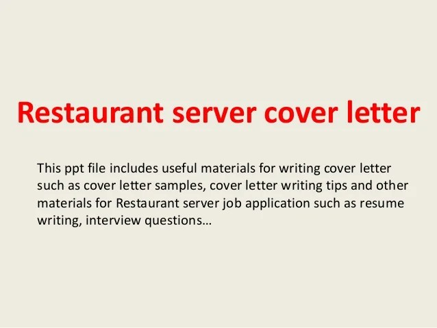 Cover Letter Waiter Resume Examples