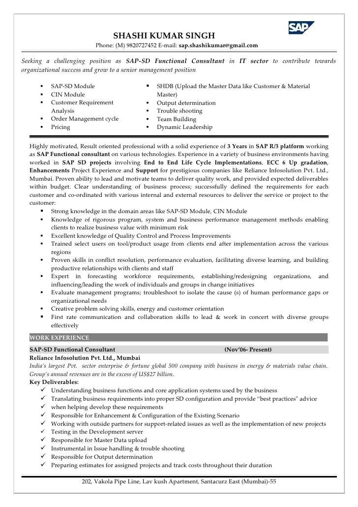 Sap Sd Consultant Cover Letter - Cover Letter Resume Ideas ...
