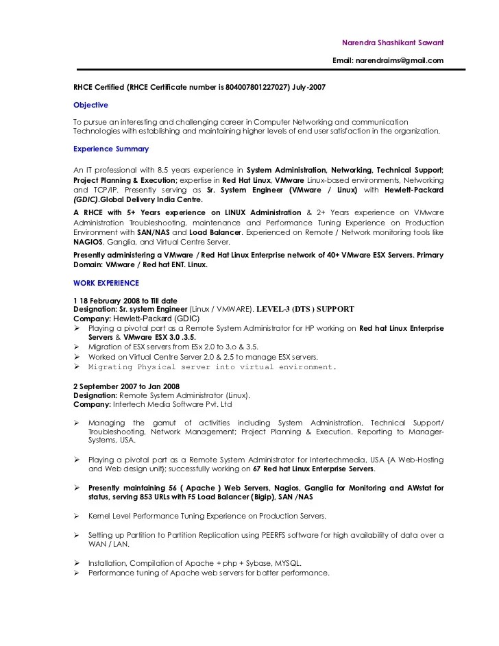 system administrator resume examples 2012